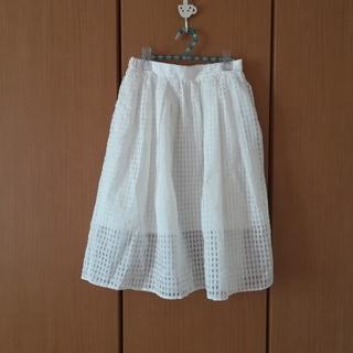 ウィゴー(WEGO)の白のチェック柄シースルースカート(ひざ丈スカート)