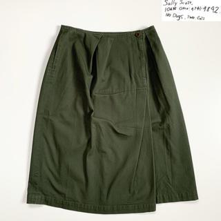 ミナペルホネン(mina perhonen)の美品 サリースコット ラップデザイン風ストレッチスカート オリーブ サイズ11(ひざ丈スカート)