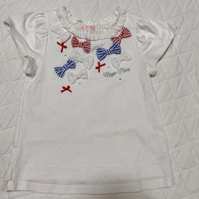 mezzo piano(メゾピアノ)のメゾピアノ Tシャツ 120  リボン キッズ/ベビー/マタニティのキッズ服女の子用(90cm~)(Tシャツ/カットソー)の商品写真