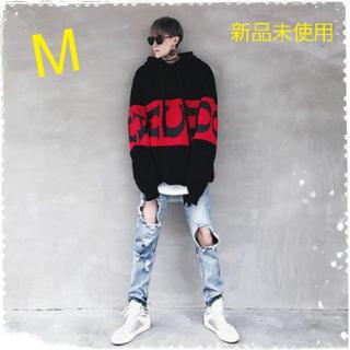 《雑誌掲載》メンズ ビッグシルエット パーカー オルチャンファッション 黒 M(パーカー)