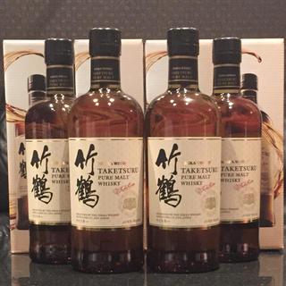 ニッカウイスキー(ニッカウヰスキー)の竹鶴ピュアモルト700ml 箱付き4本セット新品未開封(ウイスキー)
