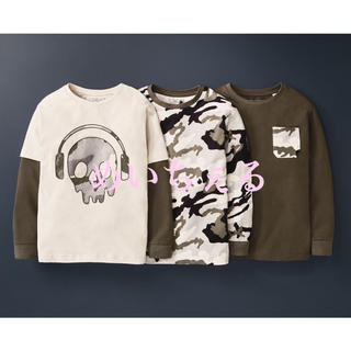 ネクスト(NEXT)の【新品】モノクローム オーガニック迷彩柄/スカル柄長袖Tシャツ3枚組(オールド)(Tシャツ/カットソー)