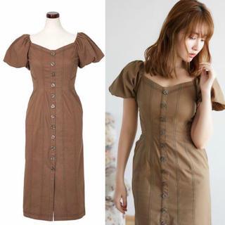 フレイアイディー(FRAY I.D)のherlipto puff sleeve midi dress (ロングワンピース/マキシワンピース)