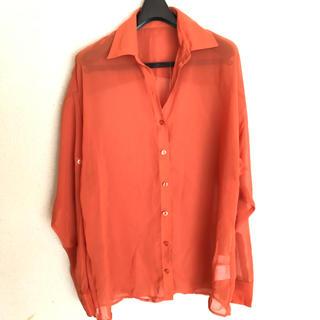 スライ(SLY)のスライ シアーシャツ オレンジ 未使用 シャツ ブラウス(シャツ/ブラウス(長袖/七分))