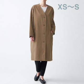 ムジルシリョウヒン(MUJI (無印良品))の無印良品   コットンリヨセルノーカラーコート  婦人XS~S・モカブラウン (ロングコート)