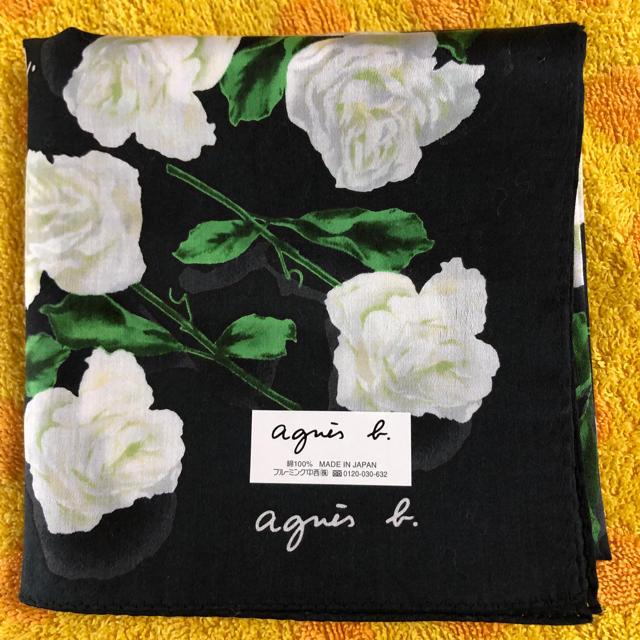 agnes b.(アニエスベー)のアニエスベー ハンカチ 白薔薇 レディースのファッション小物(ハンカチ)の商品写真