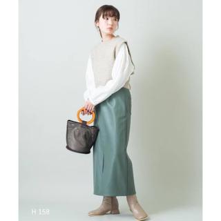 カスタネ(Kastane)のkastane  フェイクレザースリットスカート(ロングスカート)