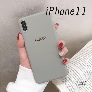 大人気!iPhone11 シンプルカラー カバー ケース グレー(iPhoneケース)