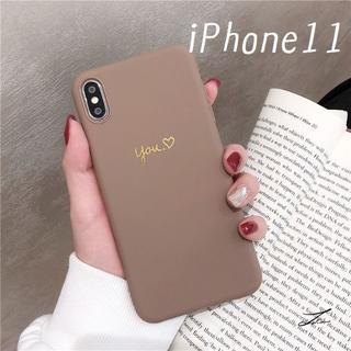 大人気!iPhone11 シンプルカラー カバー ケース コーヒー(iPhoneケース)