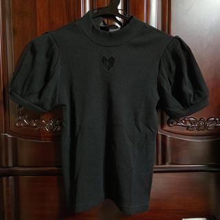 アンクルージュ(Ank Rouge)のAnk Rouge バックリボン トップス ブラック(カットソー(半袖/袖なし))