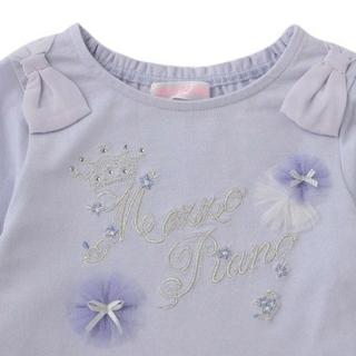 メゾピアノ(mezzo piano)の新品タグ付き メゾピアノ 肩リボンラメ刺繍Tシャツ 120(Tシャツ/カットソー)