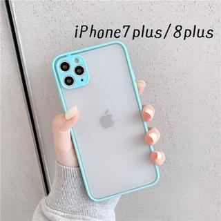 大人気!iPhone7plus iPhone8plus シンプル カバー ミント(iPhoneケース)