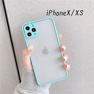 大人気!iPhoneX iPhoneXS シンプル カバー ケース ミント(iPhoneケース)