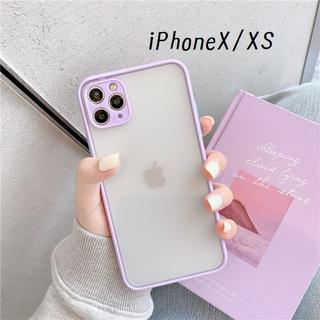大人気!iPhoneX iPhoneXS シンプル カバー ケース パープル(iPhoneケース)