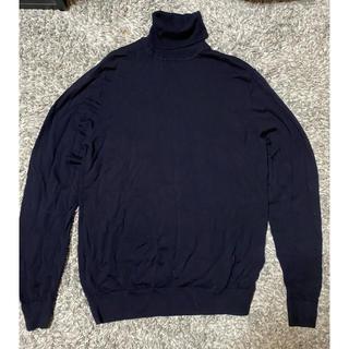 ユニクロ(UNIQLO)のユニクロ ウール タートルネック セーター ネイビー(ニット/セーター)