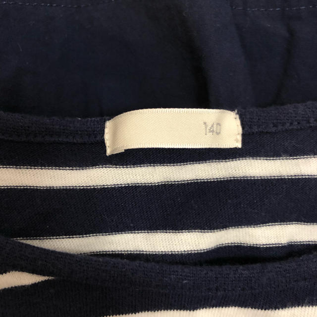 GU(ジーユー)の未着用!ボーダービスチェ付き半袖Tシャツ キッズ/ベビー/マタニティのキッズ服女の子用(90cm~)(Tシャツ/カットソー)の商品写真