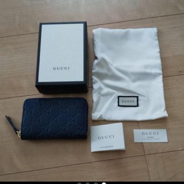 Gucci(グッチ)のGUCCI グッチ シグネチャーレザーカードケース コインケース 濃紺 新品 メンズのファッション小物(コインケース/小銭入れ)の商品写真