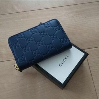 Gucci - GUCCI グッチ シグネチャーレザーカードケース コインケース 濃紺 新品