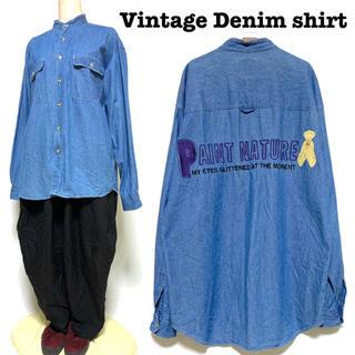 グリモワール(Grimoire)の希少 90s クマ&ロゴ刺繍 ノーカラーデニムシャツ 長袖 Wポケット(シャツ)