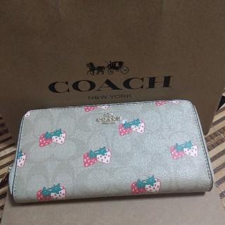 COACH - COACH長財布 イチゴ柄ベージュ