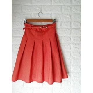 (M103)レディース オレンジ スカート(ひざ丈スカート)