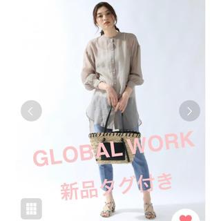 グローバルワーク(GLOBAL WORK)の新品タグ付 グローバルワーク グレー シアーバンドカラーシャツ 871152 (シャツ/ブラウス(長袖/七分))