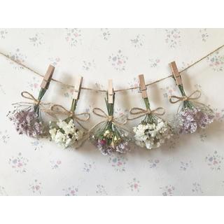 淡い3種のバラのふんわりパステルピンクドライフラワーガーランド♡スワッグ♡ブーケ
