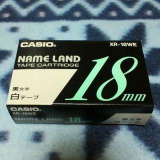 CASIO - ★新品★ CASIO ネームランド 18mm幅 白テープ(黒文字)