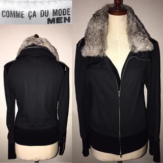 COMME CA DU MODE - 美品コムサ送料込ファー毛皮レザー革装飾ライダースジャケット細身Mドメスセレクト系