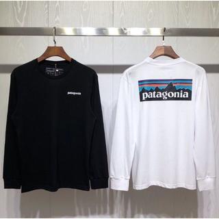 パタゴニア(patagonia)の2枚新品 Patagonia ロングTシャツ Mサイズ  ブラック+ホワイト (Tシャツ/カットソー(七分/長袖))