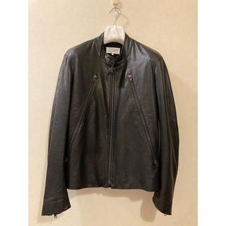 マルタンマルジェラ(Maison Martin Margiela)の極美品 マルタンマルジェラ レザー ライダースジャケット ハノ字 ブラック 48(ライダースジャケット)