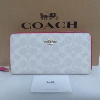 COACH - 新品未使用 COACH コーチ シグネチャー ホワイト ピンク 財布