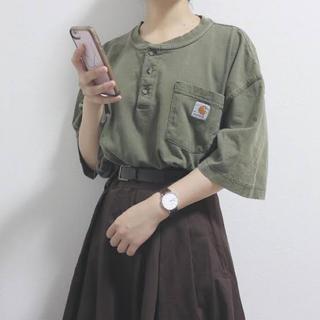 カーハート(carhartt)のCarhartt Tシャツ ヘンリーネック カーキ メンズXLサイズ(Tシャツ/カットソー(半袖/袖なし))
