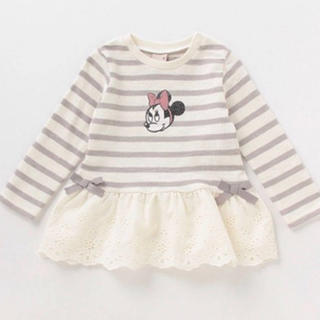petit main - プティマイン ミニーマウスデザイン 裾レースペプラムTシャツ