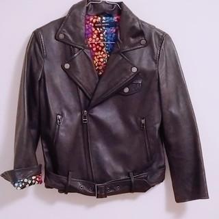 ユナイテッドアローズ(UNITED ARROWS)のライダースジャケット 革ジャン レザー 花柄 豚革 黒 ブラック  ジャケット(ライダースジャケット)