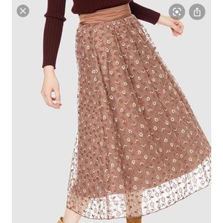 リリーブラウン(Lily Brown)のフラワー刺繍スカート 2019AW リリーブラウン(ひざ丈スカート)