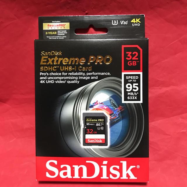 4K対応 SanDisk SDカード Extreme Pro 32GB スマホ/家電/カメラのPC/タブレット(PC周辺機器)の商品写真