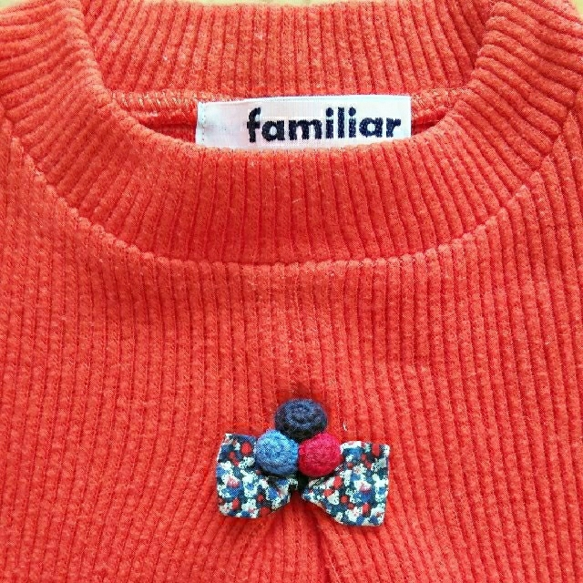 familiar(ファミリア)の【familiar】リブニットカットソー♪80cm キッズ/ベビー/マタニティのベビー服(~85cm)(シャツ/カットソー)の商品写真