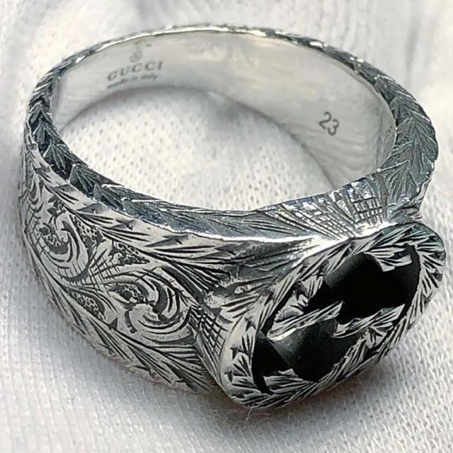 Gucci(グッチ)の極美品‼️GUCCI 燻‼️インターロッキングリング 指輪 22号‼️ メンズのアクセサリー(リング(指輪))の商品写真