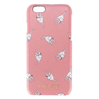 ミュウミュウ(miumiu)の【未使用】miumiu 猫柄 ピンク iPhone Plus 8 7 6 6S(iPhoneケース)
