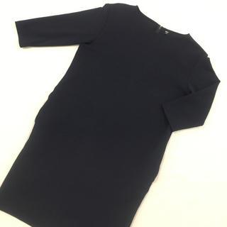 UNIQLO - UNIQLO/ユニクロ/七分袖/ひざ丈ワンピース/ネイビー/L