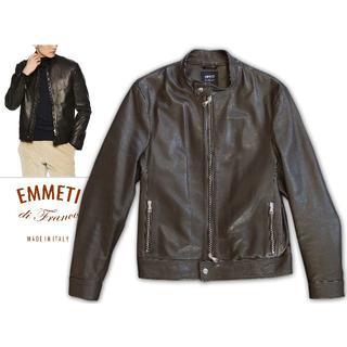 モンクレール(MONCLER)の美品 今年1月購入 エンメティ アンドレア 50 ダークブラウン(レザージャケット)