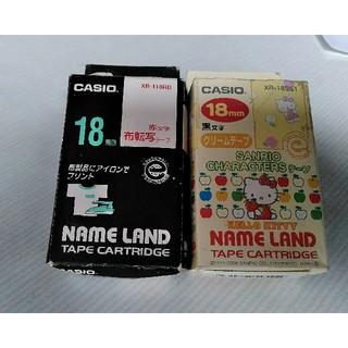 カシオ(CASIO)のCASIO✨NAME LAND 18㎜ テープカートリッジ🎶Kitty&布転写(オフィス用品一般)