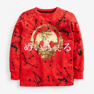 ネクスト(NEXT)の【新品】next レッド 長袖スカルスパンコールTシャツ(オールド)(Tシャツ/カットソー)