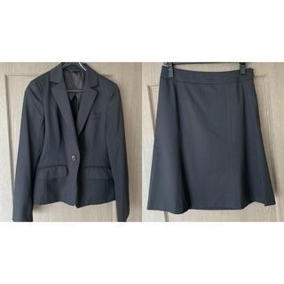青山 - 洋服の青山 n-line Precious ブラック ストライプ スーツ上下