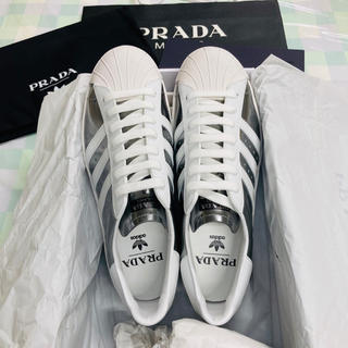 プラダ(PRADA)のPRADA アディダス スーパースター  シルバー ホワイト 26cm(スニーカー)