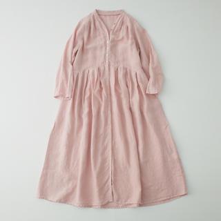 nest Robe - * ネストローブ Yネックドレス ピンク *