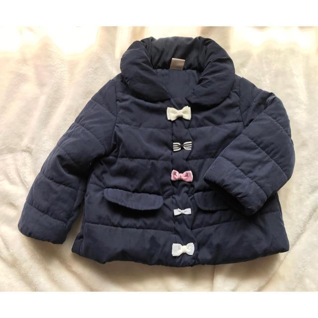 petit main(プティマイン)のプティマイン   中綿リボンジャケット アウター 90 ネイビー 紺色 キッズ/ベビー/マタニティのキッズ服女の子用(90cm~)(ジャケット/上着)の商品写真