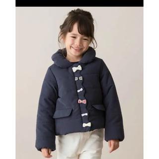petit main - プティマイン   中綿リボンジャケット アウター 90 ネイビー 紺色