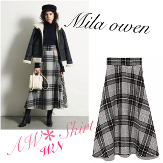 Mila Owen - 定価11,500円*Mila Owen チェック フレア スカート